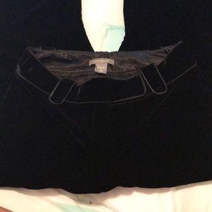 Sz 0 Ann Taylor Margo Black Velvet Trouser Pants